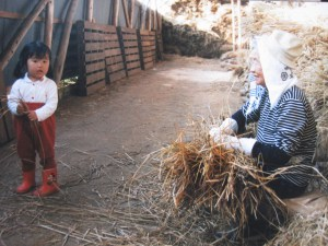 little girl with great grandmother hi-obaachan in Japan