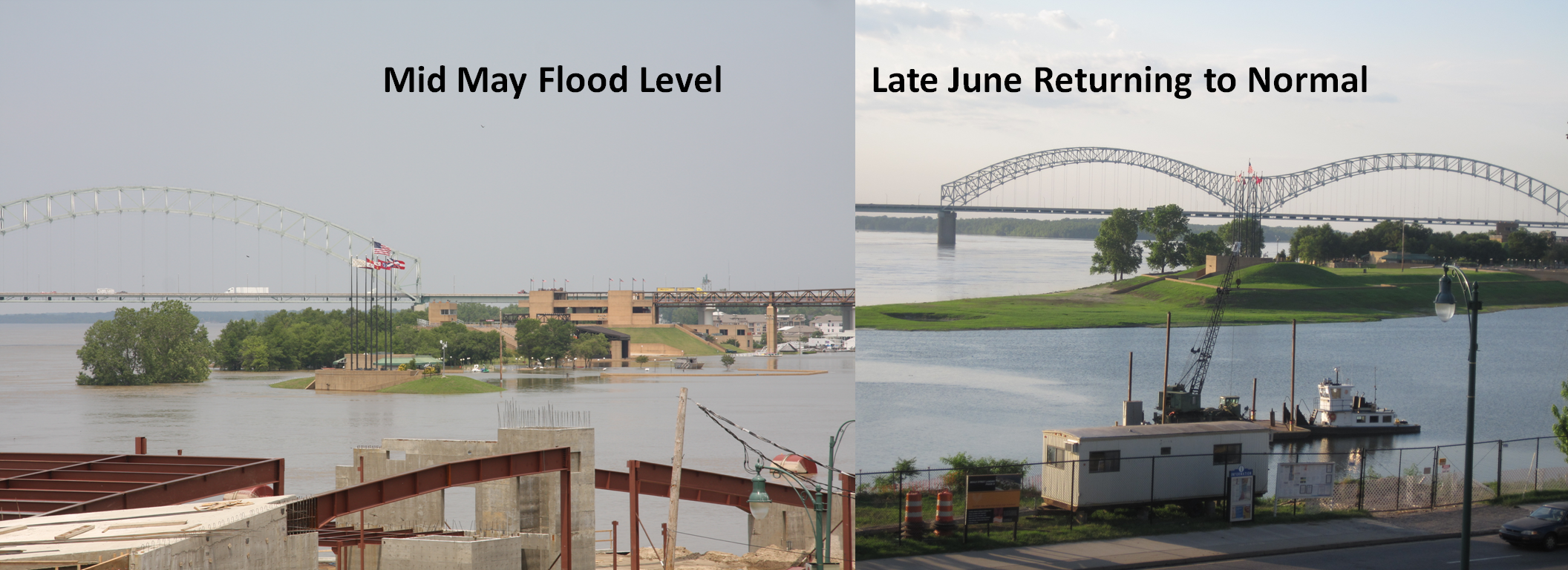 visual comparison Mud Island flood & post-flood