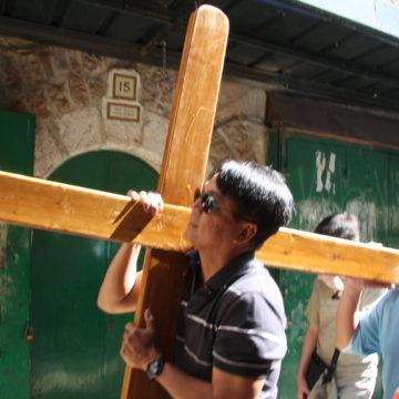 Carrying the cross in Jerusalem