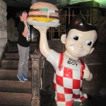 Jake takes a bite out of the Shoney's Big Boy burger