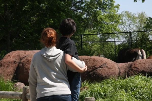 mom & son enjoying the St Louis Zoo