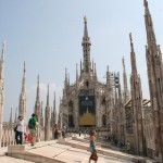 Long shot of the Milan, Italy Cathedral rooftop