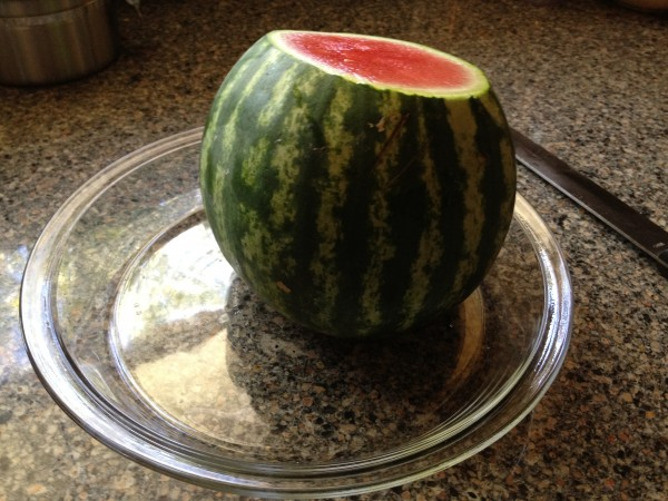 stand the watermelon up on one end
