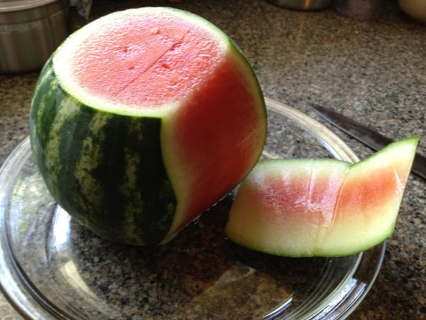 trim off watermelon rind