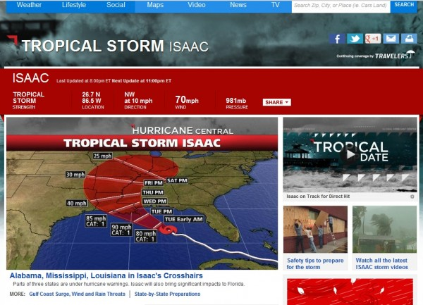Hurricane Isaac tracking on weather.com