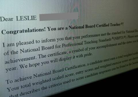 board certified teacher notification