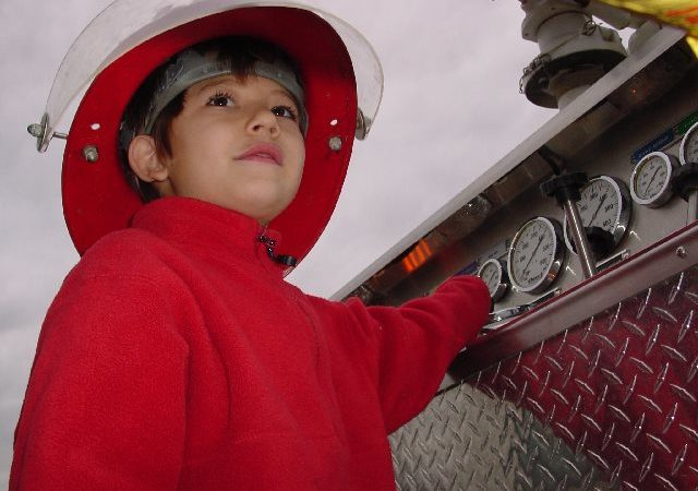 Child on a fire engine