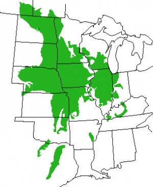 Map of US prairie region