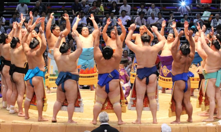 ceremonial opening of sumo rounds