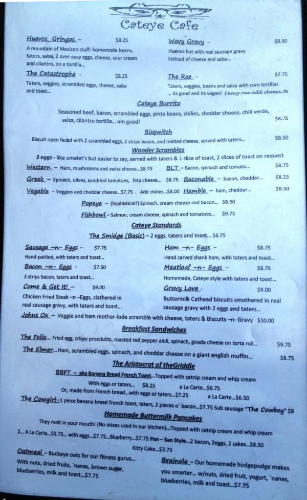 Catseye Cafe menu