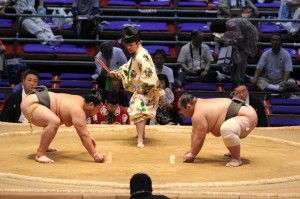 Start of a sumo wrestling match