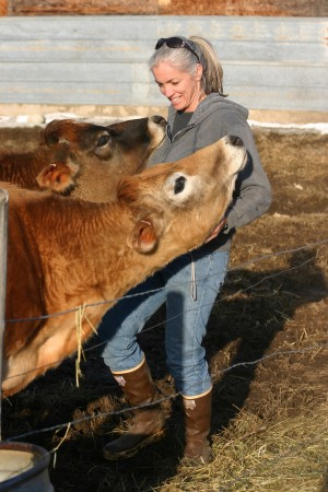 Angie Barton with one of her cows