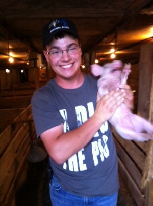 Sam Ebenkamp on his family pig farm