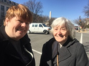 with mom outside the Smithsonian