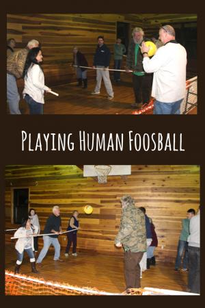 Playing Human Foosball